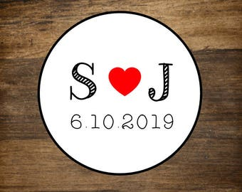 """Personalized wedding stickers, custom favor labels, 2"""" round stickers, set of 20, Matte white or Kraft brown, custom initials with red heart"""