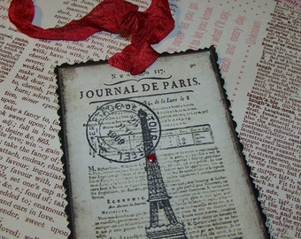 Paris Tags Eiffel Tower Tags Valentines Day Tags French Vintage Style Romantic Tags Set of 8