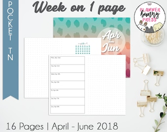 Week on 1 Page Apr - Jun '18 | Pocketl TN | Digital Download | Travelers Notebook | Field Notes | April May June 2018 WO1P