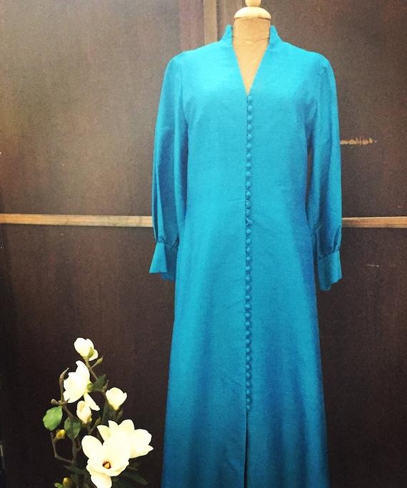 Danish/vintage/dress/couture/raw silk/teal/gown/1960/tailor made/copenhagen/matching handbag/wedding/scandinavian modern chinoiserie