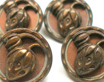 "1900s Antique French BUTTONS, 4 Victorian strawberries in copper, 9/16"". Mint, Unused. Plant life."