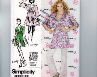 Misses Sewing Pattern Simplicity 1896 Project Runway Suede Says Misses Pullover Tunic Boho Size 4 6 8 10 12 14 16-18-20-22-24-26 UNCUT
