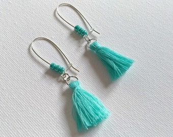 Earrings, Tassel, Mother's Day, Girlfriend, Sister, Daughter, Gift, Pierced Earrings, Turquoise, Blue