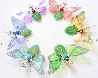 Rainbow Circle of Butterflies, Circuit Board Insect Assemblage by Julie Alice Chappell