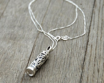 Unisex Sterling Silver Necklace and Mezuzah Case Pendant With Hamsa Design