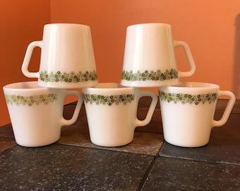 Vintage Pyrex Spring Blossom Crazy Daisy D Handle Coffee Cup Mug