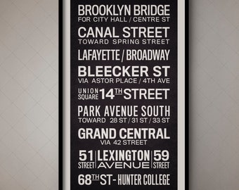 New York City Vintage Bus Roll Sign, NYC Subway Sign, New York City Subway Poster, New York Subway Art, Fine Art Print, Wall Art, Wall Decor