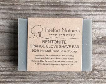Shave Soap Bentonite & Orange Clove - Handmade Cold Process, Organic,  All Natural, vegan, Shaving soap