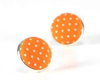 Orange Stud Earrings, Sunrise Orange Polka Dots Earring Studs, Goldfish Fabric Covered Buttons, Tangerine Silver Toned Earring Posts Jewelry