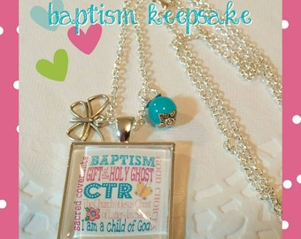 LDS baptism keepsake necklace, subway art necklace, CTR necklace, baptism gift