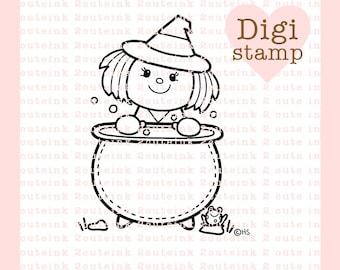 Cauldron Witch Digital Stamp - Halloween Stamp - Digital Halloween Stamp - Witch Art - Witch Card Supply - Halloween Craft Supply