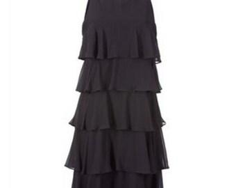 black Dress Chiffon Flapper Dress 42 14