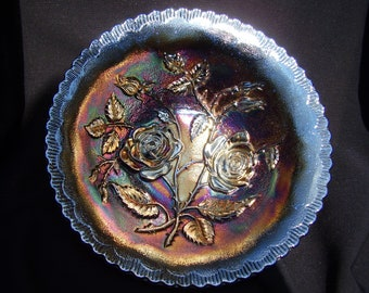 Antique Imperial Carnival Glass Blue Open Rose 9 in. Bowl