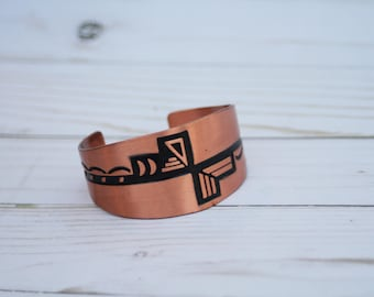 Embossed Copper Bracelet with Southwestern Design