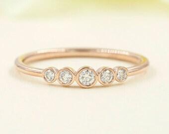 Diamond Bezel Wedding Band/Rose Gold Wedding Band/Minimalist Diamond Wedding Ring/0.18ct. Natural Diamond/Simple Wedding Band/Diamond Ring