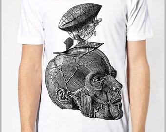 Steampunk Clothing T Shirt - Thoughts Take Flight - Steam punk Balloon Zeppelin Head Skull Science American Apparel Tee Shirt