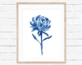 Blue Watercolor Flower No.0222 Print, Watercolor Wall Art Decor, Flowers Decor Art, Room Decor Blue, Blue Watercolor,Interior Design Decor