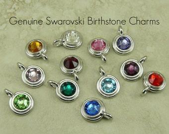 1 TierraCast SS34 Swarovski Faceted Round Birthstone Charm Birth Stone > Chaton Rivoli Crystal - Rhodium Plated LEAD FREE Pewter 6745