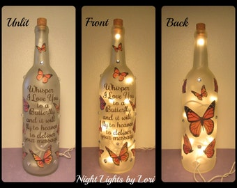 "Butterfly ""Whisper I Love you to a butterfly"" Wine Bottle Night Light"