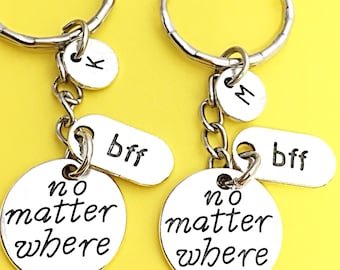Sale, Best Friend Keychains - set of 2, bff charm, no matter where bff, personalized, initial keychain, friendship jewelry,gift for best BFF