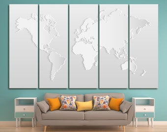Light grey world map etsy light grey world map print canvas panels modern silver world map big world map gumiabroncs Image collections