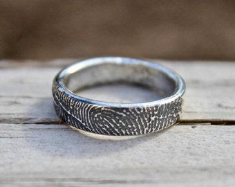 Fingerprint Ring, Finger Print Ring, Fingerprint for Men/Women, Finger print Band, Sterling Silver Finger Print Ring, Sterling Fingerprint