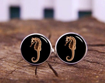 Sea Horse Cuff Links, Hippocampus Cufflinks, Seahorse tie tacks, Hippocampe Cufflinks, Groom Cufflinks, Custom Marine Animals Cufflinks