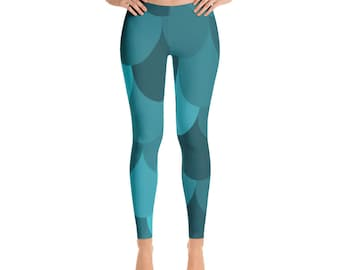 Turquoise Scale Design Patterned Fashion Stretch Casual Dress Athletic Leggings AndieJ Studio