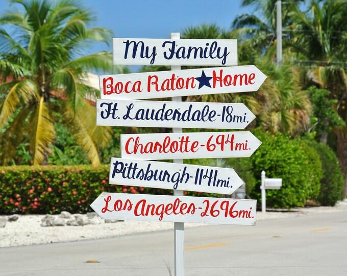 Arrow Destination Sign, Rustic Directional Mileage Sign, Home Decor, Custom unique Family gift idea.