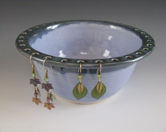 Ceramic Earring Bowl / Pottery Jewelry Bowl / Earring Organizer in Dark Blue and Periwinkle Blue