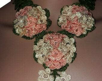 Pure handmade crochet silk thread necklace