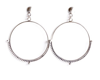 Isadora earrings - sterling silver round stunning lightweight hoop dangle studs