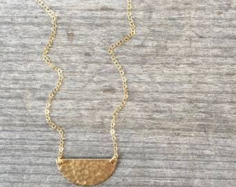 Semi Circle Brass Necklace - Hammered Brass Necklace  - Half Moon Necklace - Mixed Metal - Gold Necklace - Simple Necklace - Gift For Her