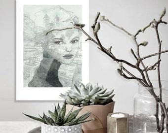Illustration Art - woman Architecture