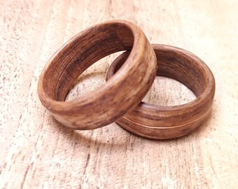 Wooden Wedding Bands Rings, Alternative Wedding Band Set, Wooden Rings for Men, Ring set for him for her, Rustic Wedding Band Ring Set