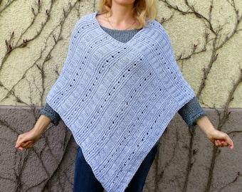 Wool knit poncho women wool poncho cover up gray poncho women crochet poncho plus size poncho women cape poncho chunky poncho pregnancy gift