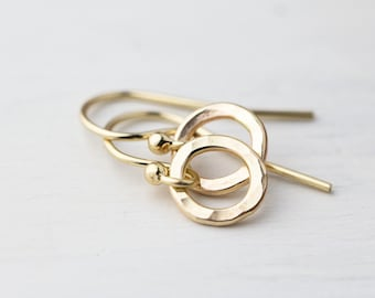 Tiny Hammered Gold Filled Earrings Handmade | Mom Gift Minimal Gold Earrings Jewelry Simple Gift | Handmade Jewelry Earring | Gifts for Mom
