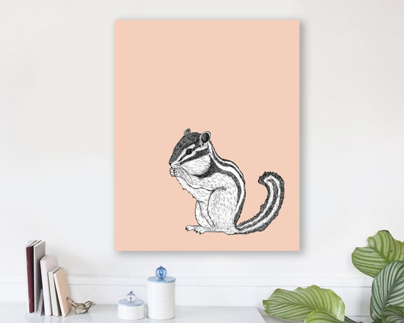 large modern wall art on canvas, minimalist fine art, colorful modern wall art, prints, animal art prints, woodland nursery art - Chipmunk