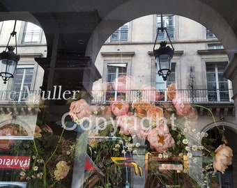 Paris Street Reflected in a Florist Storefront, Flower Shop, Instant Download, Printable Digital Image