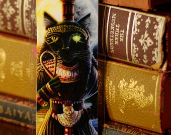Bastet Cat Goddess Art Bookmark, Ancient Egyptian Black Cat Bookmark
