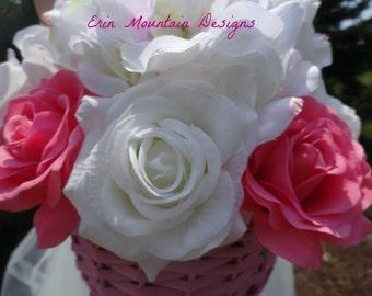 Flower girl baskets etsy white and pink flower girl basket baby girl shower centerpiece pink nursery dcor mightylinksfo