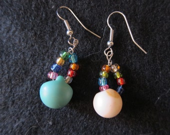 Vintage Mismatched Spherical Button Earrings