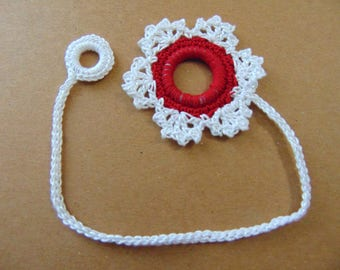 Large white and red snowflake bookmark
