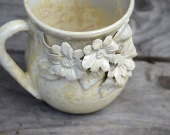 Stoneware Tea Cup  in cream with three daisies - MADE TO ORDER  - Handmade  Stoneware Ceramics  - cream - mug
