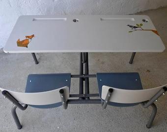 Bureau d'écolier 2 places peint