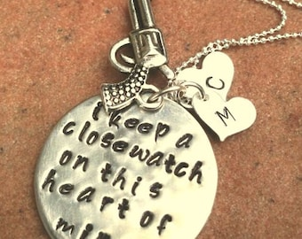 Johnny Cash Jewelry, Johnny Cash Necklace, I Keep A Close Watch, mothers day gifts, Personalized necklace, Johnny Cash, hand stamped