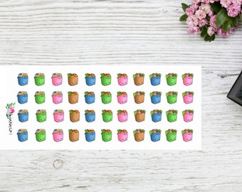 MINI Plannerstickers grocery bags, grocery shopping planner stickers, kawaii grocery bags