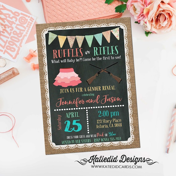 Gender reveal invitation Rifles or ruffles twins baby shower couples coed burlap lace chalkboard neutral birthday bunting | 1462 Katiedid