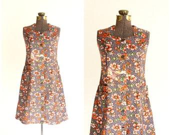 70s dress | floral linen dress | autumn earth tones | boho hippie mini dress | sleeveless button front sundress [ medium ]