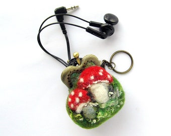 Wet Felted coin purse Amanita Mushroom tiny kiss lock with keychain Bag charm  Ready to Ship Handmade under 50 USD